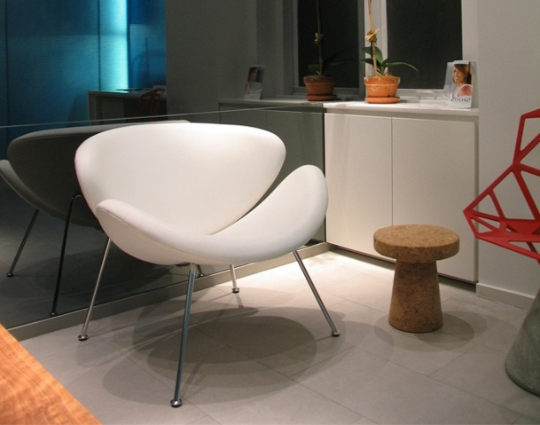 E. 40th St. Dental Office, modern dental office,  reception area, grcic chair one, pierre paulin orange slice chair, jasper morrison cork table,by Doug Stiles Interior Design