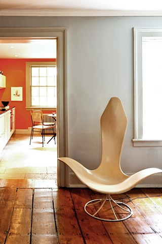 West Village Townhouse, modern kitchen, laverne tulip chair, by Doug Stiles Interior Design