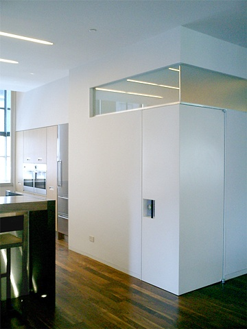 Washington Square Loft, custom modern minimalist  bathroom door, by Doug Stiles Interior Design