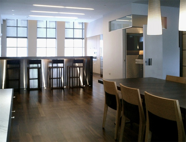 Washington Square Loft, modern minimalist kitchen, dining area, walnut floors, by Doug Stiles Interior Design