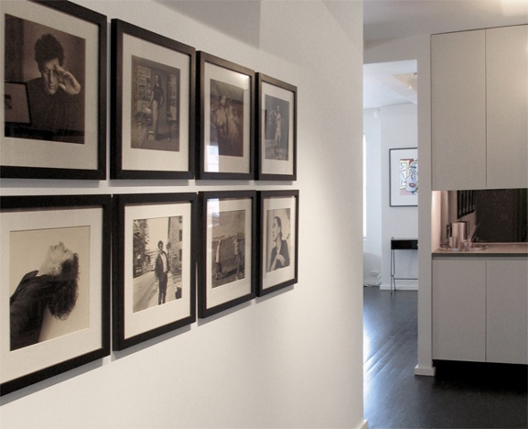east village prewar apartment, modern minimalist hallway corridor, bar, by Doug Stiles Interior Design