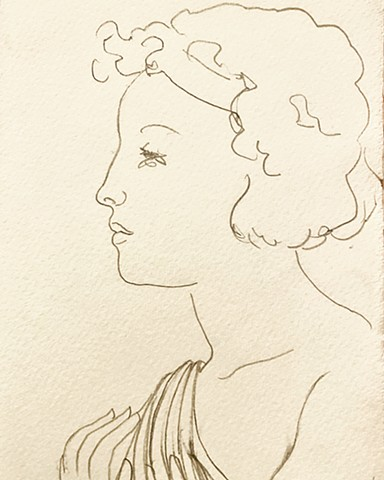 Profile of a woman in a toga