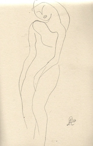 swaying frontal figure-page from sketchbook