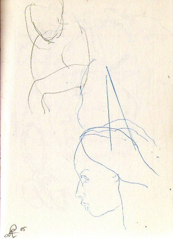 figure and head study-page from sketchbook