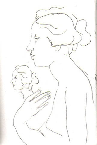 after classical sculpture -page from sketchbook