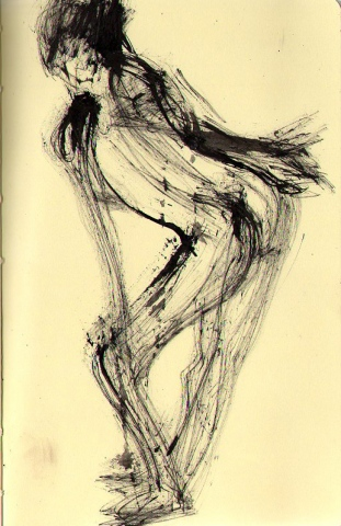 leaning figure- page from sketchbook