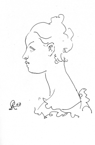 profile of a young woman-page from sketchbook