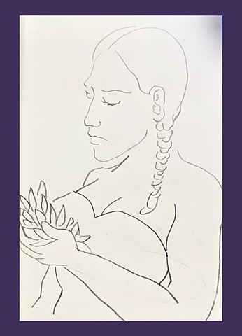 Drawing of a woman holding bay leaves created in 2021