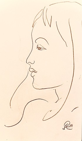 Elegant line drawing of a profile of a young girl executed in October 2019 for sale