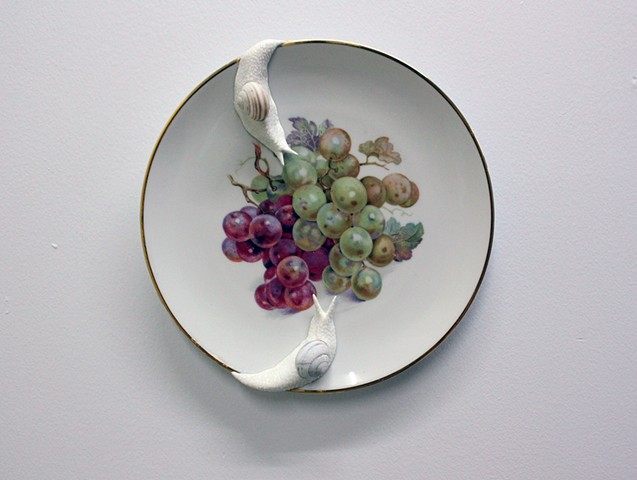 snails on a  plate with grapes by bethany krull