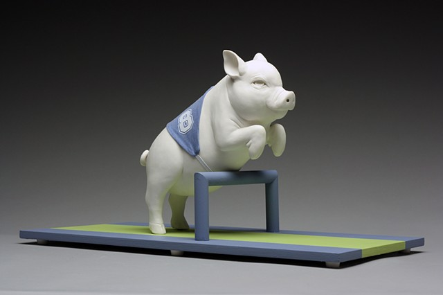 pig jumping hurdles porcelain sculpture by bethany krull