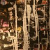 Laundering of History: An installation composed of 1) two video pieces (one projected on a wall and the other one on floor), 2) tin trunks, and 3) paintings made out of layers of newspapers and paints on thin fabric.