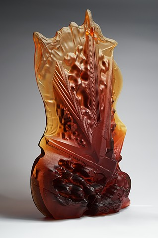 Art glass casting, using CNC, 3d modeling and the lost waxes process. Contemporary glass art, handmade and crafted in the Czech Republic. By sculptor, glass artist, and painter Philip Frank.