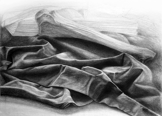 Still Life of Heavy Fabric and a Bone