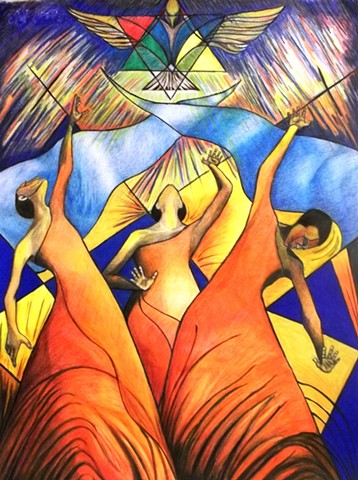 Praises is a drawing that was inspired by praise dancing, The vivid colors symbolize energy, movement and music, the dove above is symbolic of the Christ, peace and love.