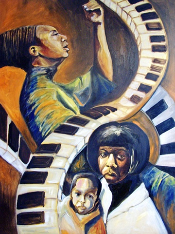 portrait of Nina Simone and her daughter based on photographs