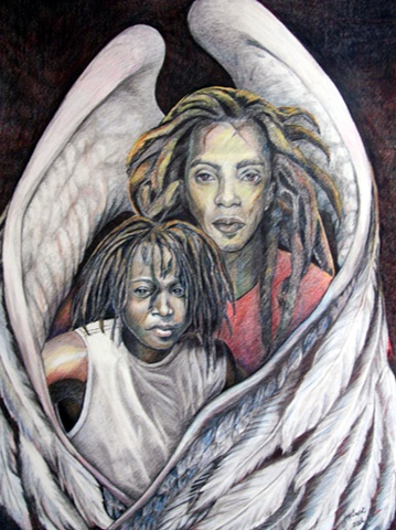 Drawing, double portrait, family portrait, angels