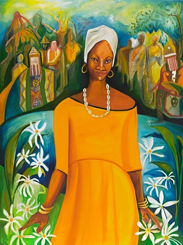 Oshun is a bright happy joyful painting celebrating life