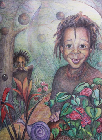 Deven's World; Pacific Art League Palo Alto, Portrait, drawing, imaginary world, fairy, children's illustration