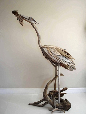 Driftwood Heron Sculpture