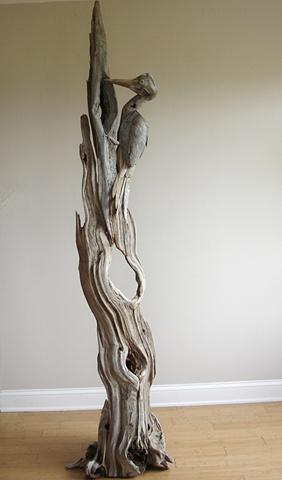 Driftwood Pileated WoodPecker Sculpture