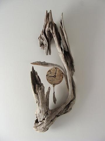 driftwood sculpture vincent richel clock hand made art fine woodswise