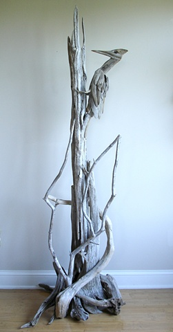 Driftwood Woodpecker Sculpture