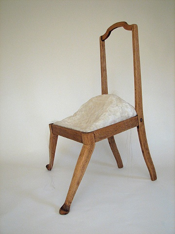 contemporary sculpture, wood chair, altered, mixed media