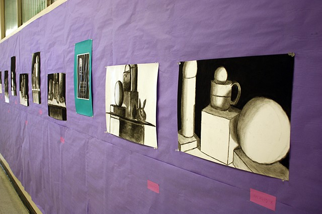 Installation of Intro to the Studio Arts Still Life: Learning Intuitive Perspective Upper School   Newman