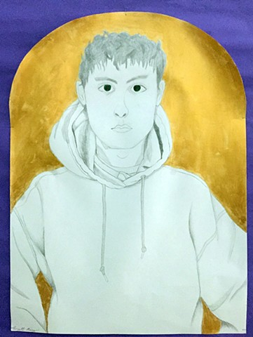 Portrait in the style of Barkley L. Hendricks Intro to the Studio Arts Class - Upper School Newman Senior Scott K.