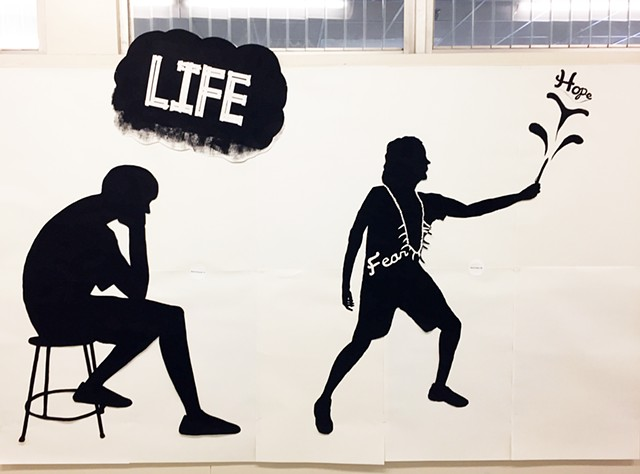 View of two student silhouettes In the style of Kara Walker Freshman and Sophomore Students