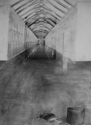 One-point perspective collage into drawing Upper School Freshman