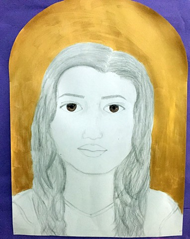 Portrait in the style of Barkley L. Hendricks Intro to the Studio Arts Class - Upper School Newman Freshman Zoe G.