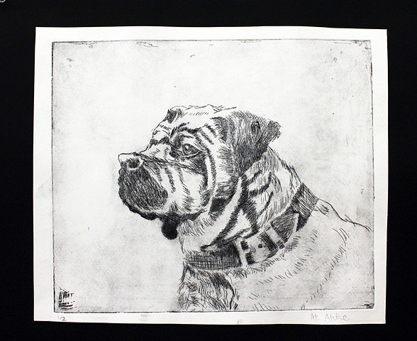 Etching  Printmaking Class | Upper School AK's Dog portrait | Newman Sophomore