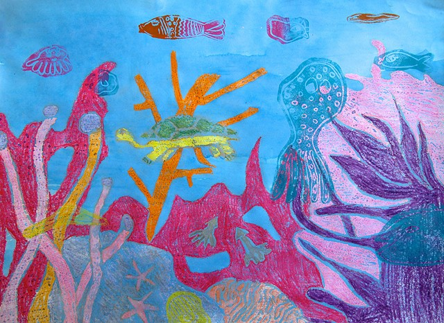 Coral Reef with printmaking by Class Three