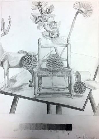 Still life with Miniature Chair Upper School Drawing Class Newman Sophomore John B.