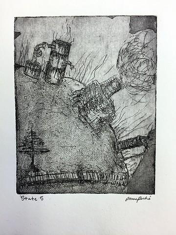 Etching  Printmaking Upper School Newman Junior James P.