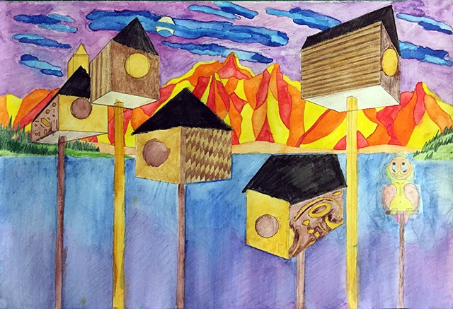 2-point perspective Birdhouse Community Intro to the Studio Arts | Upper School Newman Freshman Beau A.