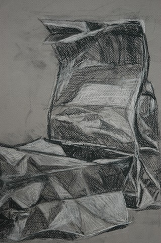 Paper Bags (detail) Drawing I College Level