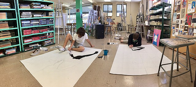 Beach and Roan working  on their Walker pieces  Newman School in New Orleans