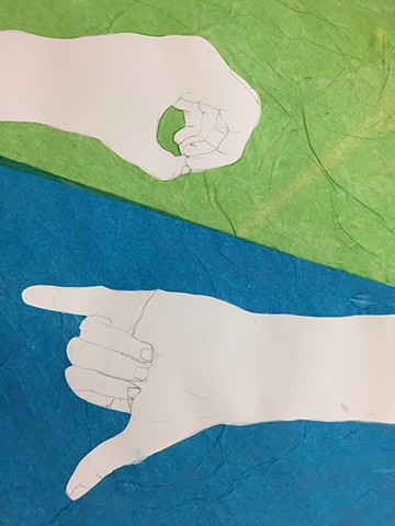 Contour Drawing of Hand Intro to the Studio Arts Upper School Newman Sophomore Beach G.