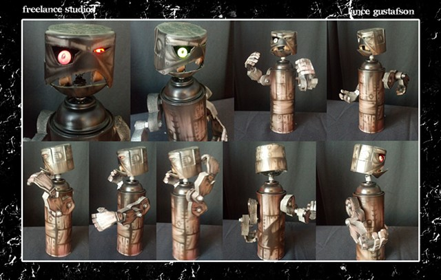 Robot Spray Paint Can Bobble Head
