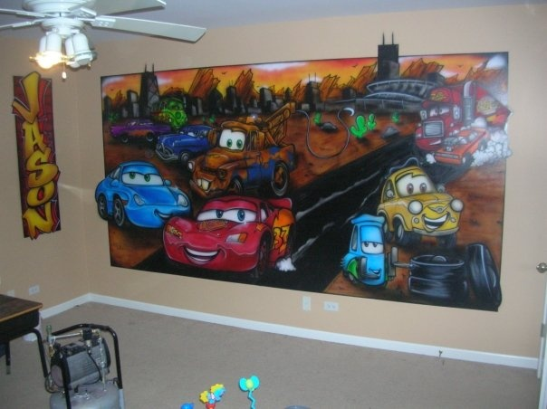 Cars Mural at Chicago Bear Jason McKie's Residence