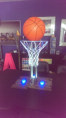 Basketball Net Base with Steel Table Number and Blue Lights