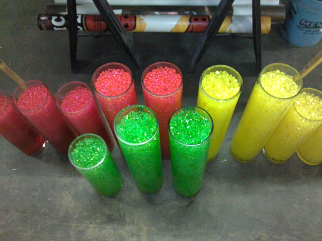 Vases Filled With Color Beads