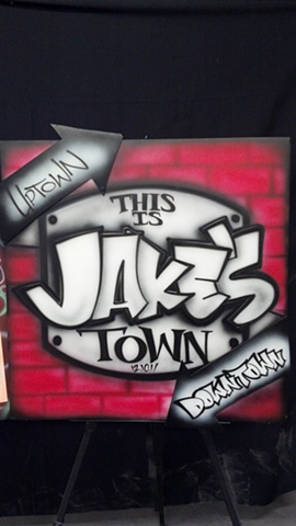 Jake's Town Sign In, Close Up