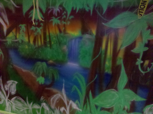 Jungle Mural, In Progress, Close Up
