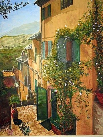 mural of italian villa
