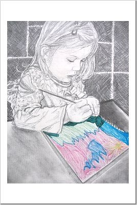 portrait of my daughter, Maia, drawing