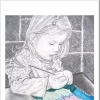 portrait of my daughter Maia drawing